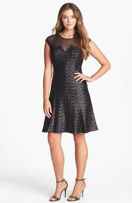 Calvin Klein Sequin Fit & Flare Dress