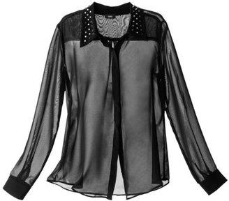 Mossimo Women's Longsleeve Blouse w/ Studded Collar -Black