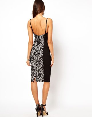 Asos Lace Pencil With Panelling