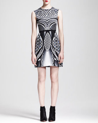 Peter Pilotto Printed Silk Fit-and-Flare Dress