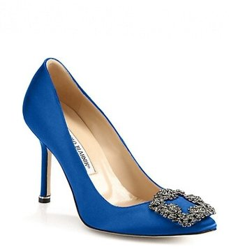 Manolo Blahnik Hangisi 105 Embellished Satin Pumps