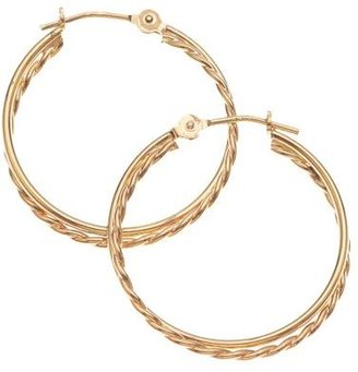 14k Gold Double Tube Hoops