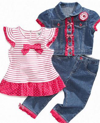Nannette Kids Set, Little Girls Denim Jacket, Tee, and Capri Pants Set
