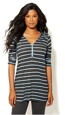 New York & Co. Love NY&C Collection - Striped Hooded Tunic