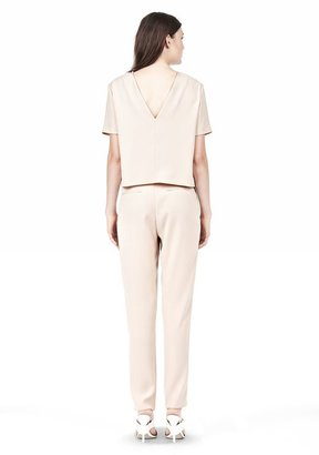 Alexander Wang Drape Suiting V Back Short Sleeve Top