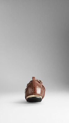 Burberry Buckle Detail Snakeskin Ballerinas