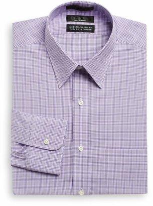 Saks Fifth Avenue Classic-Fit Glen Plaid Dress Shirt