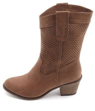 Charlotte Russe Perforated Nubuck Cowboy Boot