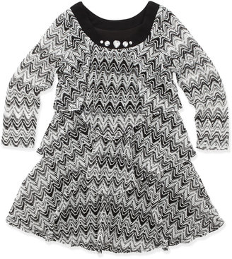 Lipstik Chevron-Stripe Tiered Sweaterdress, 4-6X
