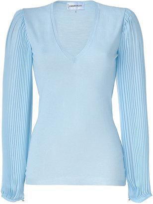 Emilio Pucci Azure Pleated Sleeve Pullover