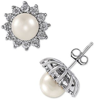 Arabella Cultured Freshwater Pearl (7mm) and Diamond (1/8 ct. t.w.) Earring in 10K White Gold
