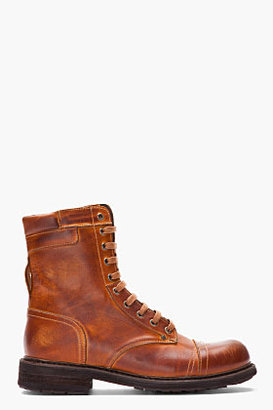 Diesel Tan scuffed leather Cassidy combat boots