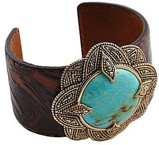 Barse Genuine Turquoise Leather Cuff Bracelet