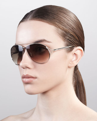 Gucci Metal Aviator Sunglasses, Palladium