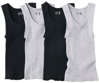 Fruit of the Loom Boys 4-pack A-Shirt Tanks - Black/Gray