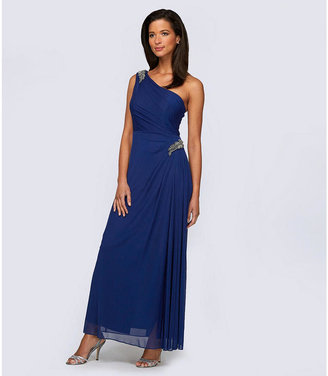 Alex Evenings One-Shoulder Brooch Gown