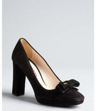 Prada Sport black suede bow square toe pumps