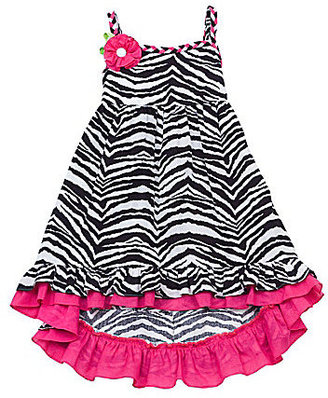 Rare Editions 7-16 Zebra Printed Hi-Low Hem Dress