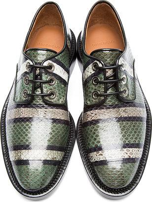 Givenchy Green Striped Snakeskin Derbys