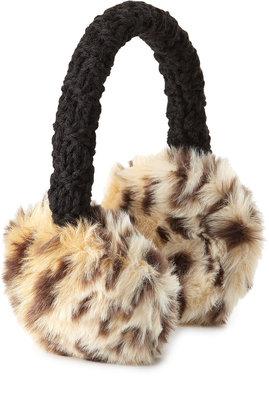 Hat Attack Faux-Fur Earmuffs, Black/Leopard