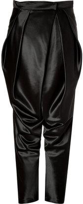 Balmain Wool-Silk Harem Pants in Black