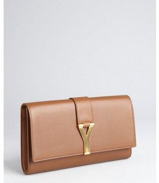 Saint Laurent light brown leather logo buckled envelope clutch