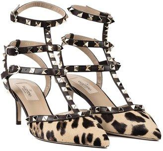 Valentino Rockstud Leopard Slingback Heels