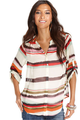 Bar III Top, Long-Sleeve Striped Shirt