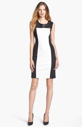 Calvin Klein Faux Leather Yoke Colorblock Dress