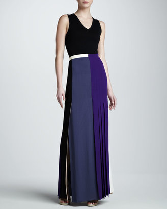 J. Mendel Pleat-Panel Georgette Skirt, Multicolor