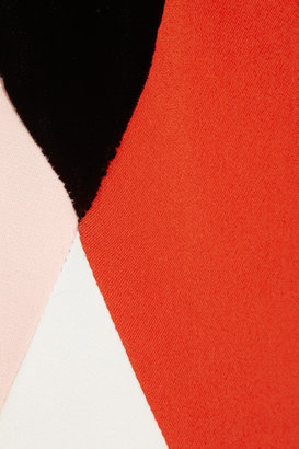 Stella McCartney Color block velvet and crepe gown