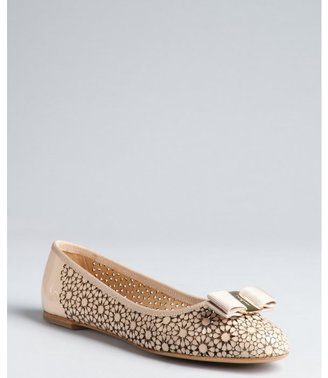 Salvatore Ferragamo bisque patent leather floral cutout bow embellished 'Shelly' flats