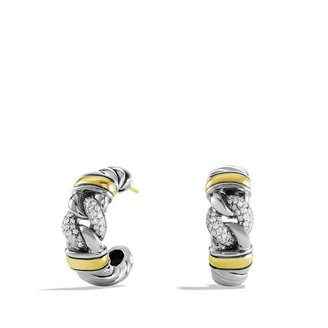 David Yurman Metro Curb Earrings with Diamonds and Gold