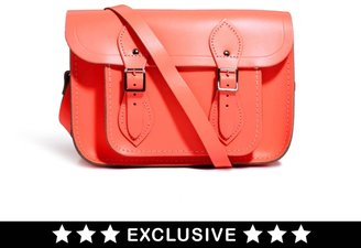 "Cambridge Silversmiths Satchel Company Exclusive to Asos 11"" Coral Fluro Leather Satchel"