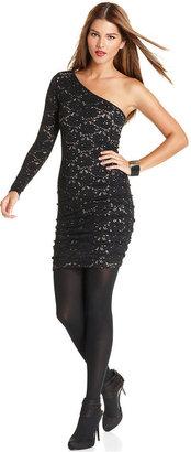 BCBGMAXAZRIA Dress, Long-Sleeve One-Shoulder Lace Mini