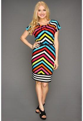 Calvin Klein Chevron-Striped Cowl Neck Dress (Black Multi) - Apparel