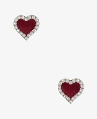 Forever 21 Pearlescent Heart Earrings