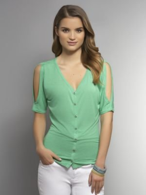 New York & Co. Cold Shoulder Button-Front Shirt