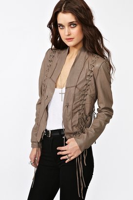Nasty Gal Lace Up Leather Jacket