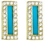 Jennifer Meyer Diamond Turquoise Inlay Bar Studs - Yellow Gold