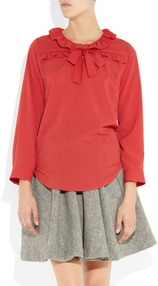 Sandro Ruffle-neck crepe blouse