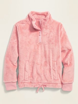 Old Navy Faux-Fur 1/4-Zip Cinched-Hem Pullover for Girls