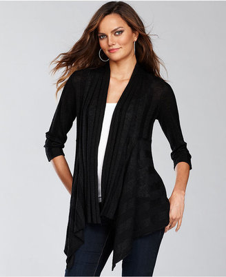 INC International Concepts Sweater, Metallic-Knit Draped Cardigan