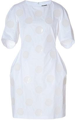 Jil Sander Cotton Dress with Dot Appliqué in White