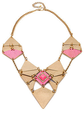 *MKL Accessories The Tribal Statement Necklace in Gold and Fuchsia Gem