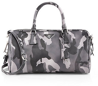 Prada Saffiano Soft Camouflage Boston Bag