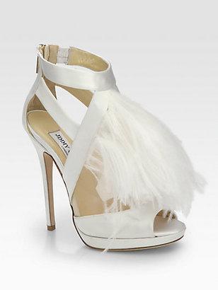 Jimmy Choo Teazer Ostrich Feather Satin Platform Sandals