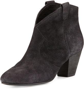 Ash Jalouse Suede Slip-On Western Ankle Bootie, Black