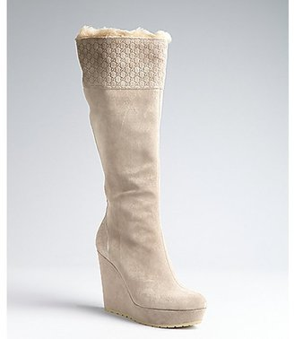 Gucci grey suede and fur lined wedge boots