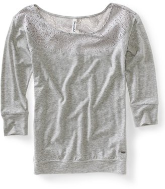 Aeropostale 3/4 Sleeve Lace Knit Top